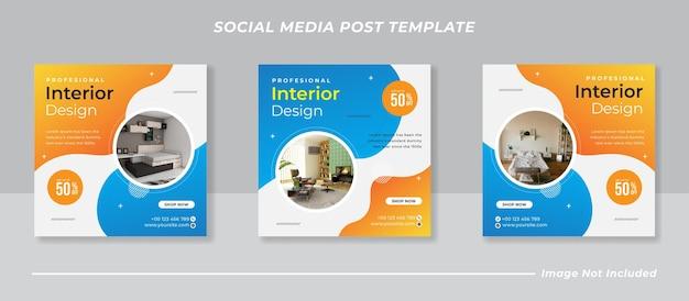 Modern interieur social media en instagram postsjabloon