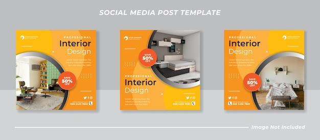 Modern interieur sociale media en instagram postsjabloon