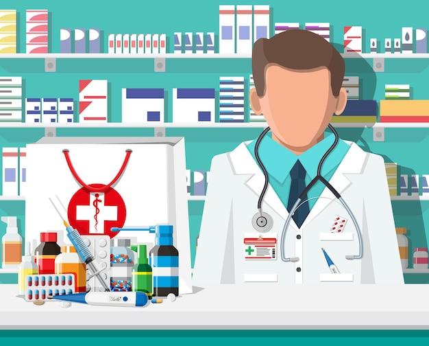 Modern interieur van apotheek en mannelijke apotheker. geneeskunde pillen capsules flessen vitaminen en tabletten. drogisterij vitrine. planken met medicijnen. medische drug, gezondheidszorg. platte vectorillustratie