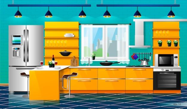 Modern interieur van de oranje keuken. vector illustratie. huishoudelijke keukenapparatuur kasten, planken, gasfornuis, afzuigkap, koelkast, magnetron, vaatwasser, kookgerei;