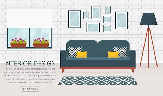 Modern interieur van de woonkamer. vector banner met plaats voor tekst. ontwerp van een gezellige kamer met bank, vloerlamp, raam, tapijt en decoratieaccessoires.