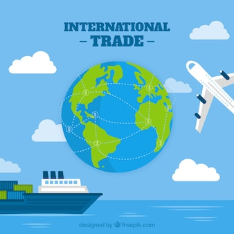 Modern internationaal handelsconcept met vlak ontwerp