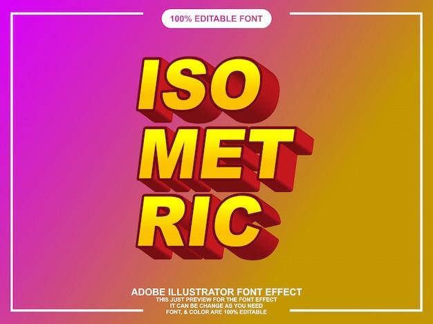 Modern isometrisch bewerkbaar teksteffect voor illustrator