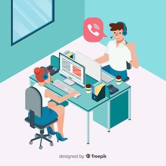 Modern isometrisch call centreontwerp