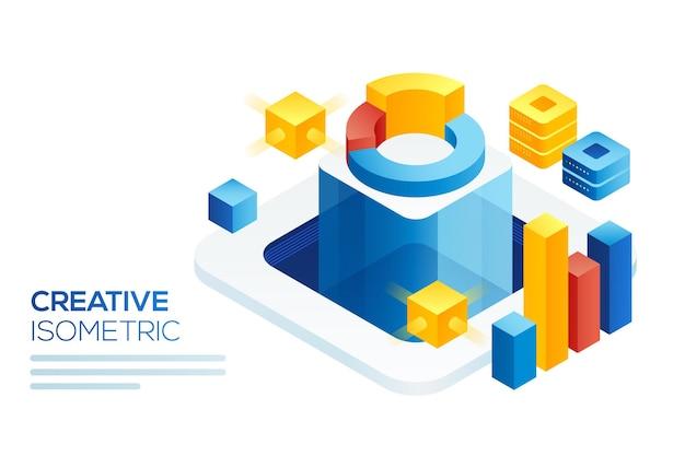 Modern isometrisch concept van big data-analyse. isometrische bestemmingspagina-sjabloon. digitale informatiegrafiek en statistisch financieel budget.