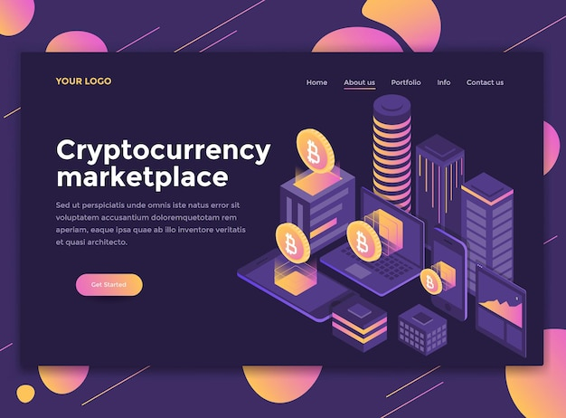 Modern isometrisch concept van cryptocurrency marketplace