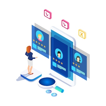 Modern isometrisch online enquête concept met karakter