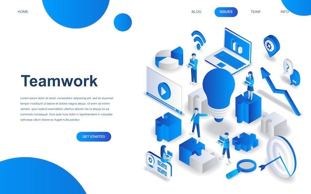 Modern isometrisch ontwerpconcept teamwork