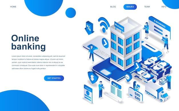Modern isometrisch ontwerpconcept van online bankieren