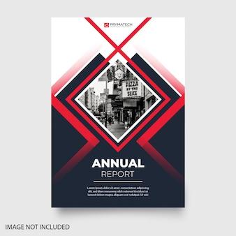 Modern jaarverslag met abstracte vormen