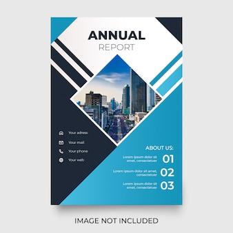 Modern jaarverslag met blauwe vormen