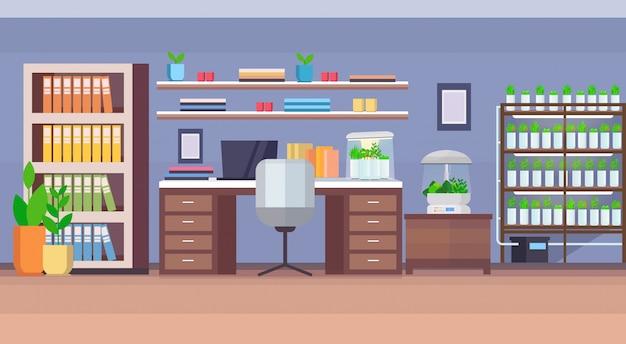 Modern kantoor aan huis werkplek kast leeg geen mensen huis woonkamer interieur met elektronische terrarium glazen container planten groeien concept plat horizontaal