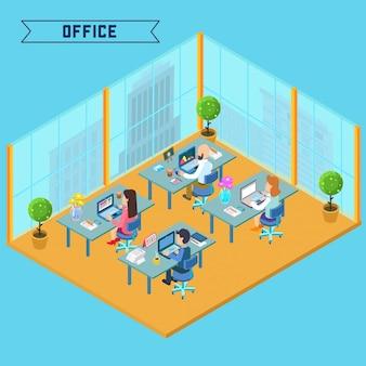 Modern kantoor interieur isometrisch