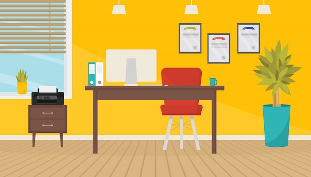 Modern kantoor kamer interieur met meubels en apparatuur.