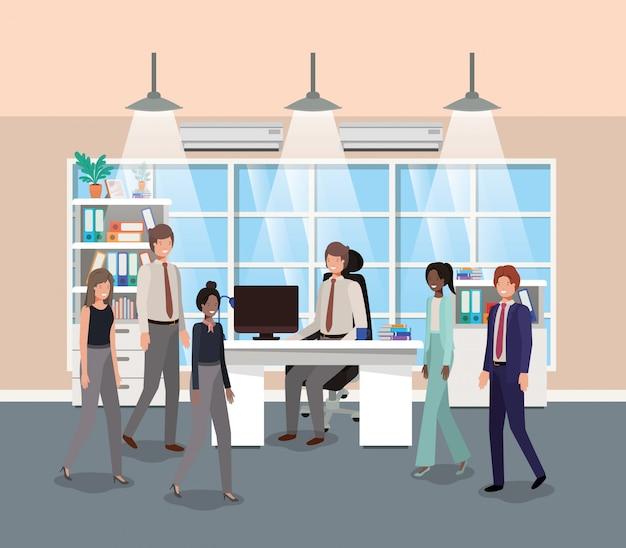 Modern kantoor met mensen uit het bedrijfsleven