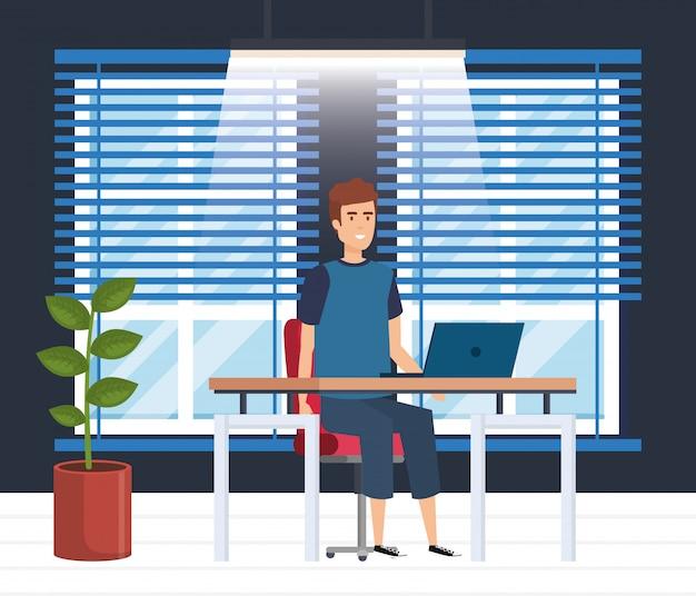 Modern kantoor met zakenman