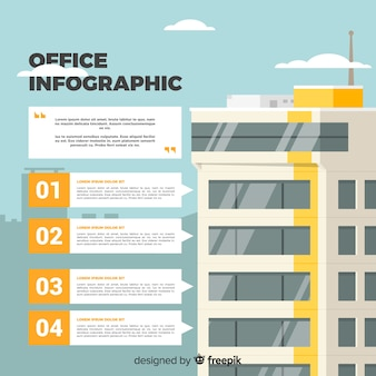 Modern kantoorgebouw met infographic stijl