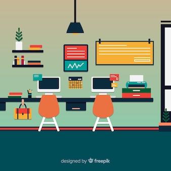 Modern kantoorinterieur met plat ontwerp
