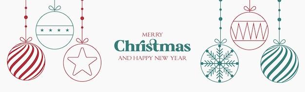 Modern kerst- en gelukkig nieuwjaarsdisplay met plat ontwerp