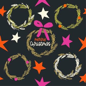 Modern kerstkranspatroon in zwart rood roze en gouden kleuren