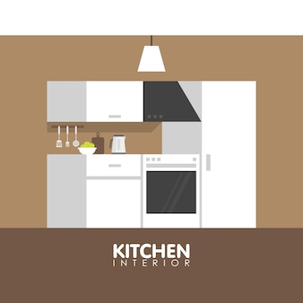 Modern keuken interieur design icoon.