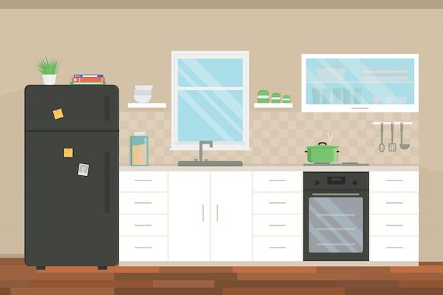Modern keukenbinnenland met meubilair en toestellen.