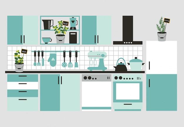 Modern keukenbinnenland.