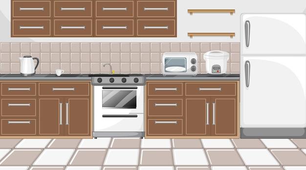 Modern keukeninterieur met meubels