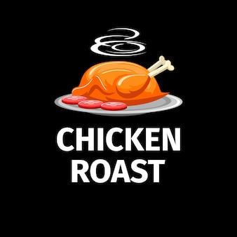 Modern kippenbraadstuk met rookembleem op donkere achtergrond