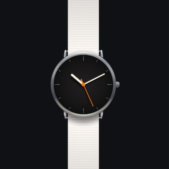 Modern klassiek horloge op zwarte achtergrond