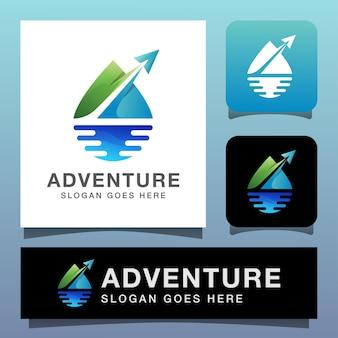 Modern kleurenlogo voor avontuurlijke reizen, natuurlandschap met vliegtuiglogo concept