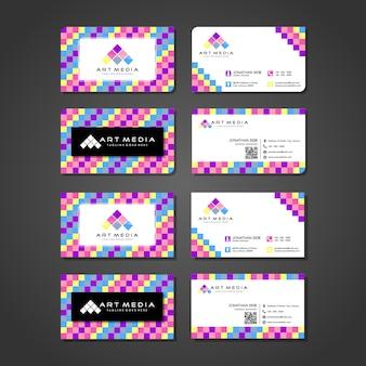 Modern kleurrijk visitekaartje en de presentatieontwerp van het embleemmalplaatje