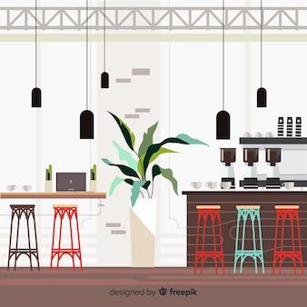 Modern koffiewinkelbinnenland met vlak ontwerp