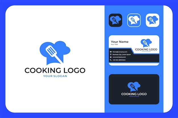 Modern kooklogo-ontwerp en visitekaartje