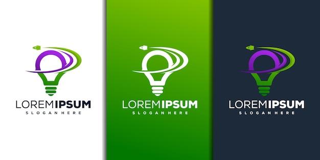 Modern lamp- en raketlogo-ontwerp