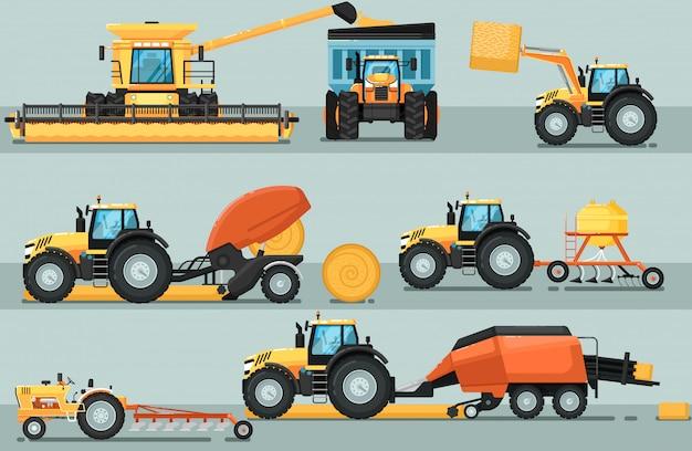 Modern landbouwvoertuig geïsoleerde set