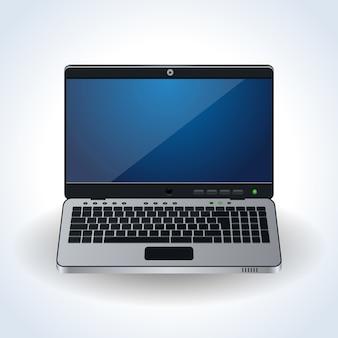 Modern laptop realistisch vectorpictogram op witte achtergrond