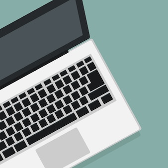 Modern laptopontwerp in bovenaanzicht