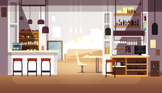 Modern leeg bar of koffiewinkel vlak binnenland
