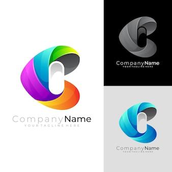 Modern letter c-logo met kleurrijk ontwerp, 3d-stijl