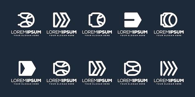 Modern letter d logoo-ontwerp instellen