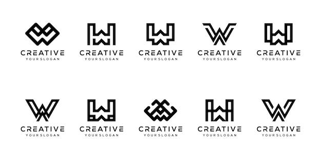 Modern letter w logo-ontwerp instellen