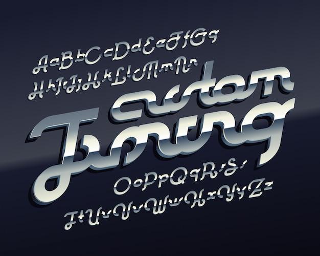 Modern lettertype met metalen chroom effect