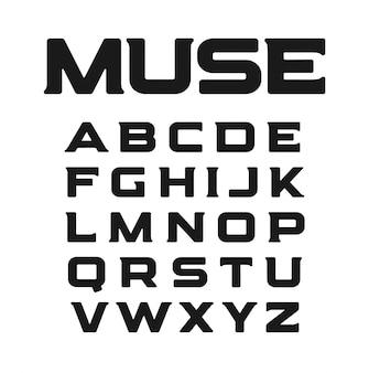 Modern lettertype met ongewone serifs.