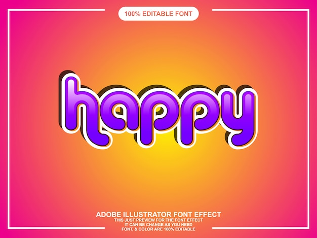 Modern leuk vet bewerkbaar illustrator-teksteffect