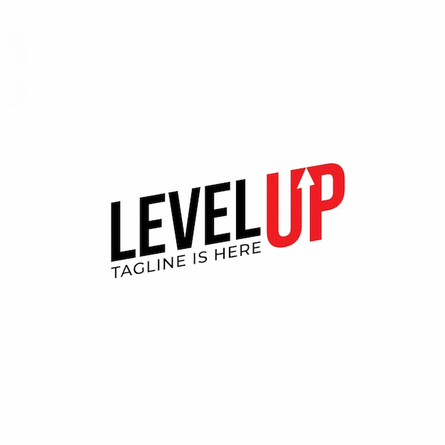 Modern level up typography logo-ontwerpinspiratie
