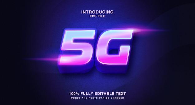 Modern levendig 3d-teksteffect, 5g-illustraties in neonstijl
