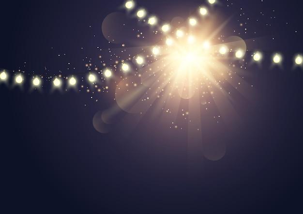 Modern lichteffect met decoratie fel licht vectorillustratie