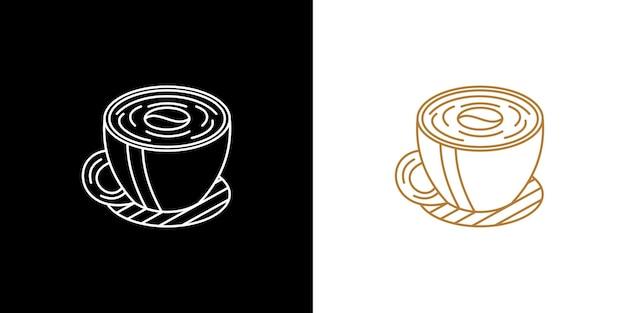 Modern lijnlogo een kopje koffie