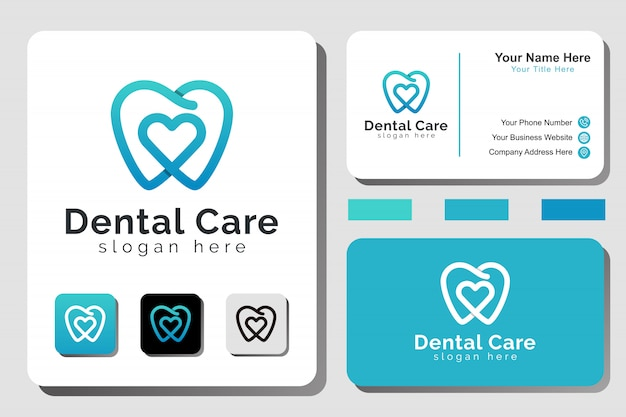 Modern lijntekeningen tandheelkundige zorglogo met visitekaartjeontwerp
